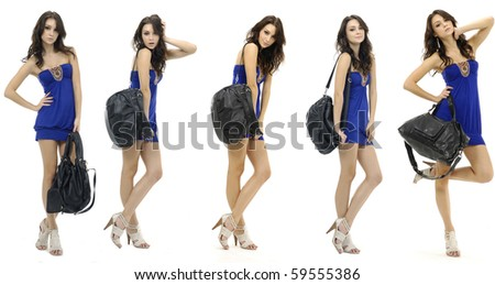 Collage of group of a young beautiful woman with modern bag. Posing in the studio,