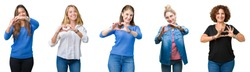 Collage of group of beautiful women over white isolated background smiling in love showing heart symbol and shape with hands. Romantic concept.