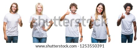 Collage of group of people wearing casual white t-shirt over isolated background doing happy thumbs up gesture with hand. Approving expression looking at the camera with showing success.