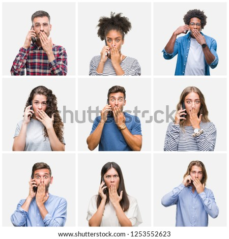 Collage of group of young people calling using smartphone over isolated background cover mouth with hand shocked with shame for mistake, expression of fear, scared in silence, secret concept #1253552623
