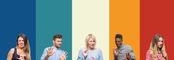 Collage of group of young people over colorful vintage isolated background disgusted expression, displeased and fearful doing disgust face because aversion reaction. With hands raised. Annoying