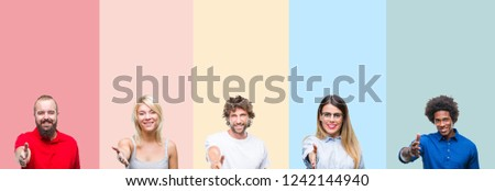 Collage of group of young people over colorful vintage isolated background smiling friendly offering handshake as greeting and welcoming. Successful business.