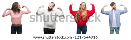 Collage of group of young people over white isolated background showing arms muscles smiling proud. Fitness concept.