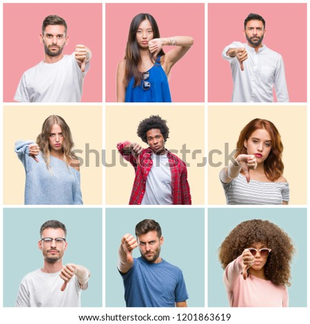 Collage of group of young people woman and men over colorful isolated background looking unhappy and angry showing rejection and negative with thumbs down gesture. Bad expression. #1201863619