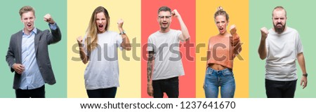 Collage of group people, women and men over colorful isolated background angry and mad raising fist frustrated and furious while shouting with anger. Rage and aggressive concept.