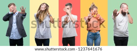 Collage of group people, women and men over colorful isolated background covering eyes with hands and doing stop gesture with sad and fear expression. Embarrassed and negative concept. #1237641676