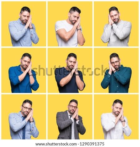Collage of handsome man over yellow isolated background sleeping tired dreaming and posing with hands together while smiling with closed eyes. #1290391375
