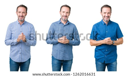 Collage of handsome senior man over white isolated background Hands together and fingers crossed smiling relaxed and cheerful. Success and optimistic