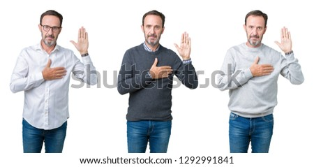 Collage of handsome senior man over white isolated background Swearing with hand on chest and open palm, making a loyalty promise oath #1292991841
