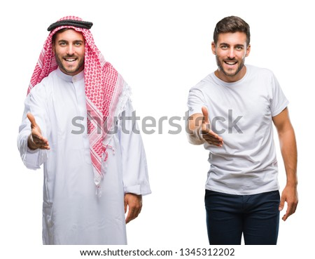 Collage of handsome young man and arab man over isolated background smiling friendly offering handshake as greeting and welcoming. Successful business.