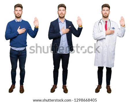 Collage of handsome young professional man over white isolated background Swearing with hand on chest and open palm, making a loyalty promise oath