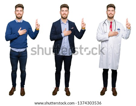Collage of handsome young professional man over white isolated background Swearing with hand on chest and fingers, making a loyalty promise oath