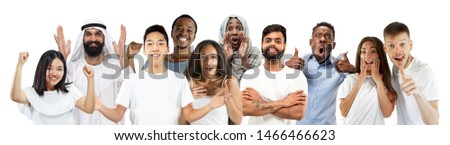 Collage of happy caucasian, asian and african-american people looks happy. Male and female models on white studio background. Victory, delight concept. Human facial emotions. Winning, windering, crazy #1466466623