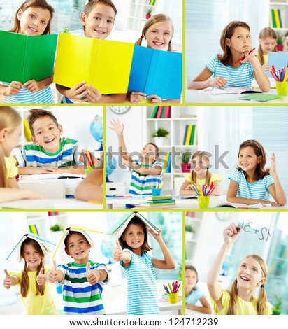 Collage of happy classmates at lesson in classroom