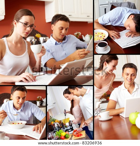Collage of happy couple cooking and having meal in the kitchen