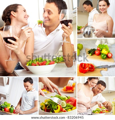 Collage of happy couple in the kitchen at home