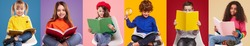 Collage of happy diligent multiracial schoolkids in casual clothes slitting on chairs and reading colorful books