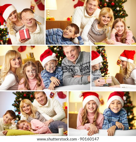 Collage of happy family members at home before Christmas