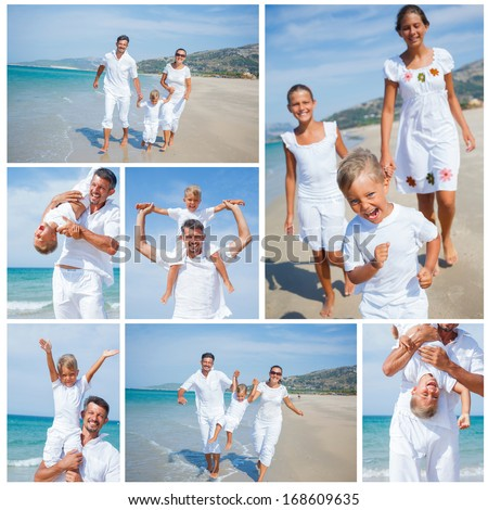 Collage of happy family running on the beach