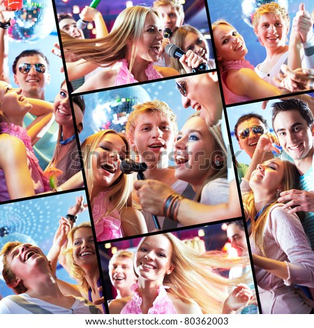 Collage of happy guys and girls having party in night club