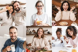 Collage of happy multinational people eating and cooking lunch at home