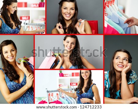 Collage of happy shopper looking at camera