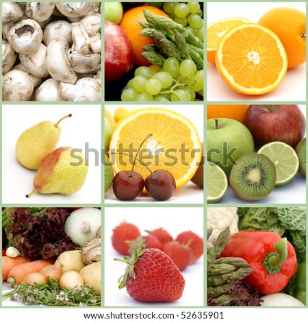Collage of healthy fruit and vegetables
