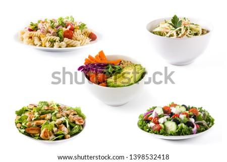 Collage of healthy salad. Greek salad, Pasta salad, Caesar salad and Buddha bowl #1398532418
