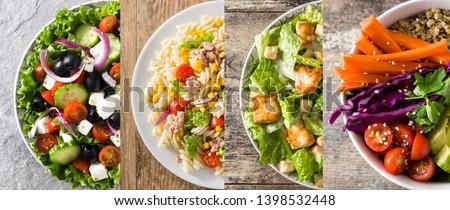 Collage of healthy salad. Greek salad, Pasta salad, Caesar salad and Buddha bowl