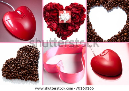 Collage of hearts made up of pink ribbon, rose petals, coffee beans and heart shaped computer mouse
