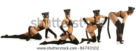 Collage of hot beautiful models in latex cat costume