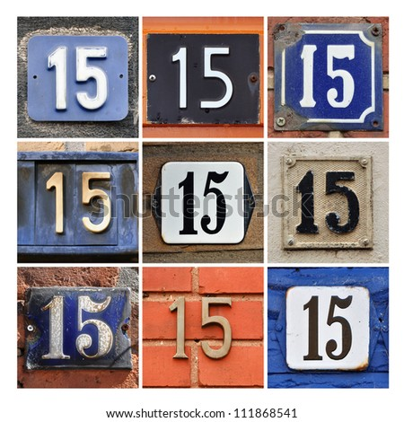 Collage of House Numbers Fifteen