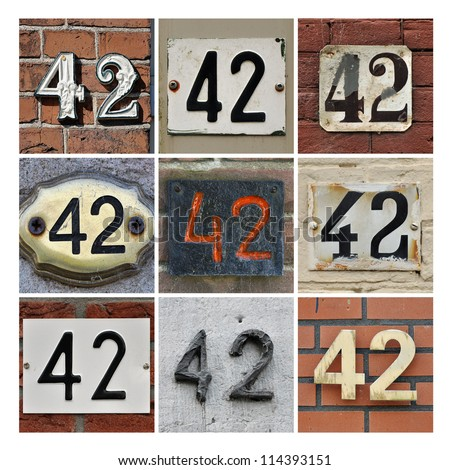 Collage of House Numbers Forty-two - stock photo