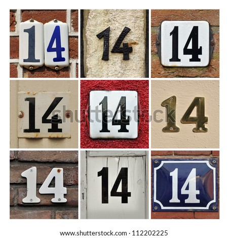 Collage of House Numbers Fourteen