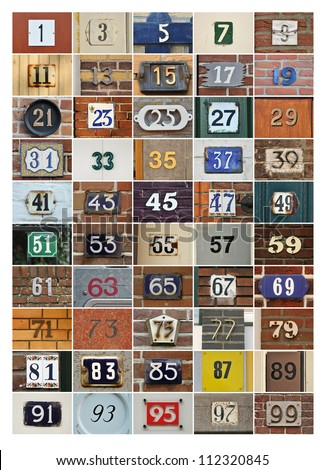 Collage of House numbers - odd numbers 1 to 99