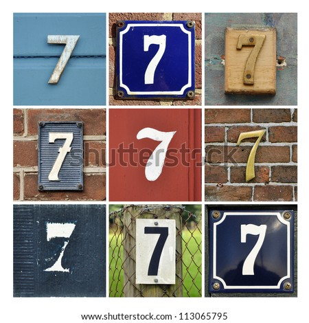 Collage of House Numbers Seven