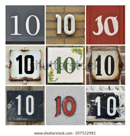Collage of House Numbers Ten