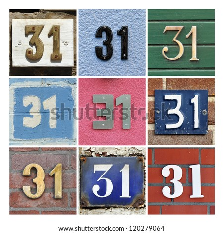 Collage of House Numbers Thirty-one