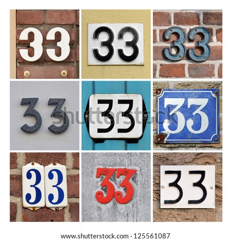 Collage of House Numbers Thirty-three