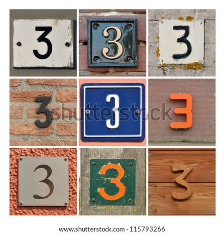 Collage of House Numbers Three