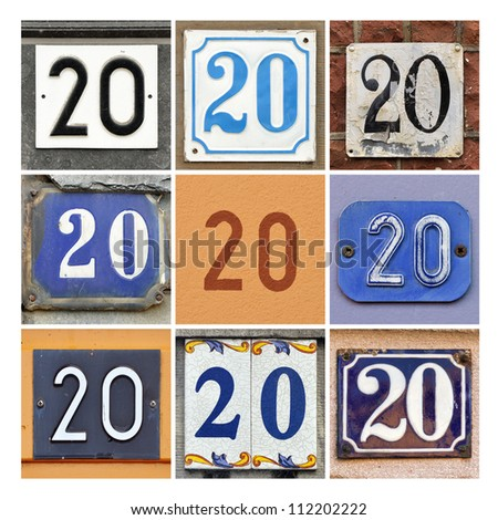 Collage of House Numbers Twenty