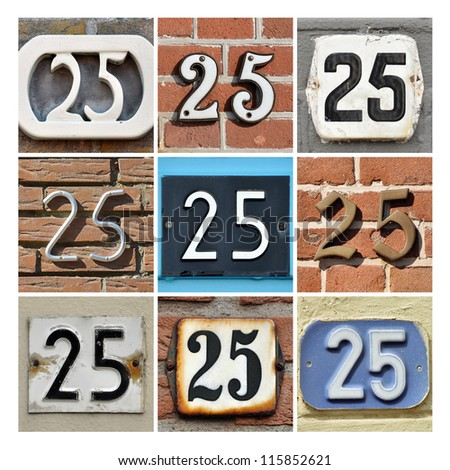 Collage of House Numbers Twenty-five - stock photo