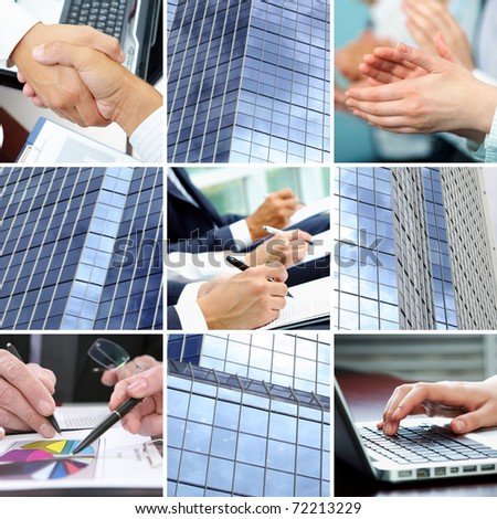 Collage of human hands and office building sides