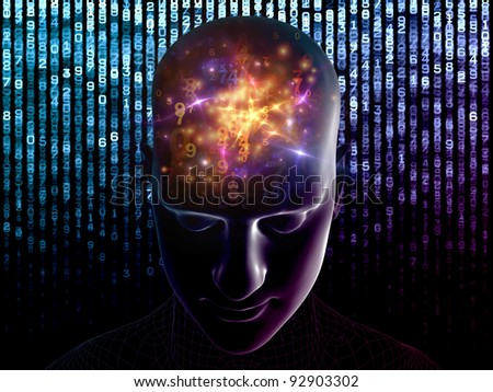 Collage of human head, digits and various abstract elements on the subject of thinking, human and artificial minds