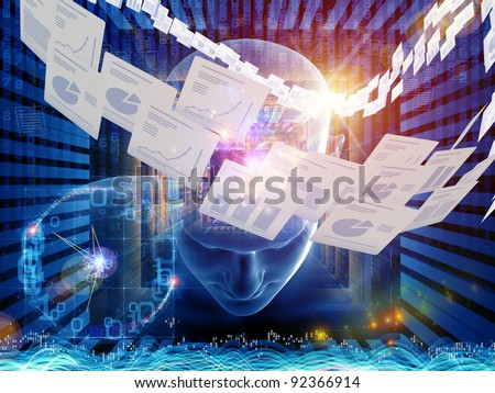 Collage of human head, documents and various abstract elements on the subject of document processing, office work and modern technologies