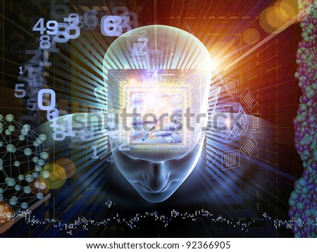 Collage of human head, maze, digits and various abstract elements on the subject of intelligence, science, technology, human and artificial mind