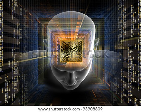 Collage of human head, maze, digits and various abstract elements on the subject of intelligence, modern technologies and human mind