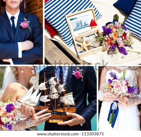 Collage of images, decorations on the marine wedding. Bride and groom with colorful ship, wedding bouquet with beautiful colors, dark blue suit of groom, sea shells at the wedding in the summer.
