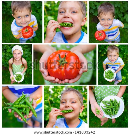 Collage of images kids holding tomato and green Peas in garden