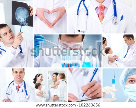 collage of images on medicine and health care